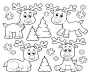 Coloriage adorable renne de noel