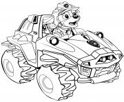 Pat Patrouille Dino Rescue Meet Rex Voiture 4x4 dessin à colorier