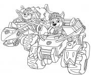 Pat Patrouille Dino Rescue Voiture 4x4 dessin à colorier