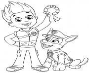 Pat Patrouille Ryder et Chase Medaille de la premiere position dessin à colorier