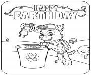 Joyeux jour de la terre et un bac de recyclage dessin à colorier