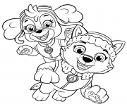 Skye et Everest des chiots joyeux dessin à colorier