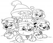 Les chiens de la Pat Patrouille realisent un bonhomme de neige pour Noel dessin à colorier