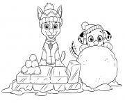 Pat Patrouille Ryder et Marshall sur un lit de glace et boule de neige dessin à colorier