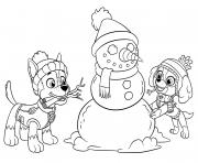 fete de fin dannee avec pat patrouille bonhomme de neige dessin à colorier