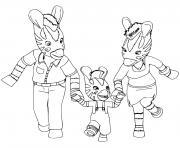 la famille Zou les zebres dessin à colorier