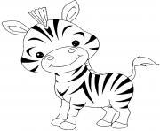 bebe zebre animaux dessin à colorier