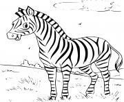 zebre souriant avec des bandes de rayures noires et blanches dessin à colorier