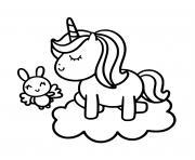 Licorne Kawaii avec son bebe sur un nuage dessin à colorier