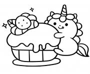 licorne kawaii cupcake dessin à colorier