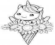 licorne kawaii cone fleurs dessin à colorier
