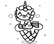 licorne kawaii cornet glace dessin à colorier