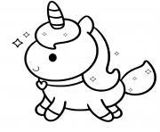 Licorne kawaii au galop dessin à colorier