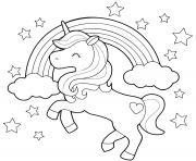 licorne arc en ciel et etoiles en mode galop dessin à colorier