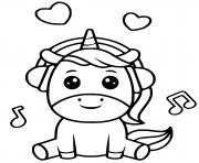 licorne kawaii avec casque de musique dessin à colorier
