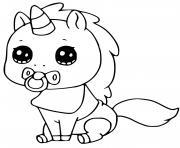 bebe licorne kawaii dessin à colorier