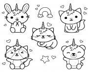 chat en mo de licorne kawaii chaton dessin à colorier