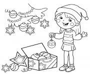 fille prepare le sapin de noel avec des decorations festives dessin à colorier