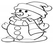bonhomme de neige facile enfants dessin à colorier