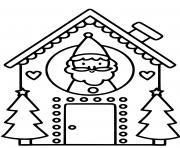 maison du pere noel pour enfants dessin à colorier