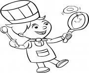 un enfant devient un chef cuisinier pour un restaurant de petit dejeuner dessin à colorier