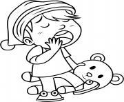 un enfant baille avec son nounours dans la main pret pour le sommeil dessin à colorier