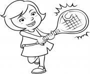 une fille joue au tennis dessin à colorier