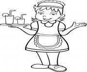 une fille se deguise pour etre serveuse dans un grand restaurant dessin à colorier