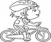 une fille pedale a pleine vitesse sur son velo dessin à colorier