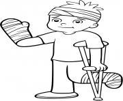 un garcon est malade suite a un accident de velo dessin à colorier
