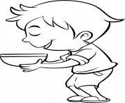 un garcon mange une soupe au brocoli dessin à colorier