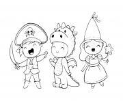 costume mignon pour enfants conte fees dessin à colorier