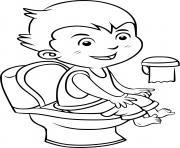 un enfant au toilette pour faire ses besoins et rester propre dessin à colorier