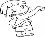 un enfant met son pyjama pour se preparer a dormir dessin à colorier