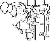 un gamin apprend la cuisine pour devenir chef dessin à colorier