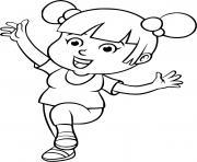 une petite fille fait du sport pour etre en sante dessin à colorier