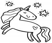 licorne avec des etoiles pour enfants prescolaire dessin à colorier