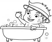 un garcon prend son bain pour etre propre dessin à colorier