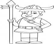un enfant se deguise en soldat viking dessin à colorier