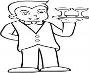 un garcon se deguise pour etre un serveur de restaurant dessin à colorier