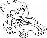 un enfant conduit une voiture dessin à colorier