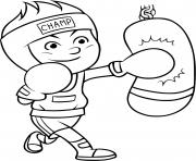un garcon veut devenir champion de boxe et pratique chaque jour dessin à colorier