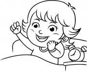 une fille se reveille avec le soruire pour aller a la garderie dessin à colorier