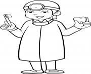 un enfant qui devient un dentiste pour la sante buccale dessin à colorier