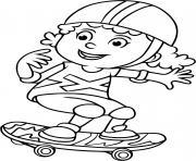 une jeune fille fait du skateboard planche a roulette dessin à colorier