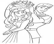 Princesse Rose La Belle au bois dormante et son prince Philippe dessin à colorier
