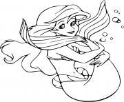 Ariel Mermaid aventureuse et curieuse du monde dessin à colorier