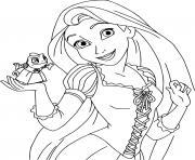 La princesse Raiponce Rapunzel du conte Raiponce des freres Grimm dessin à colorier
