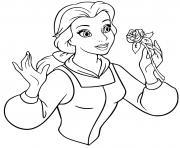 La Belle avec une Rose dessin à colorier