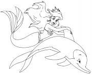 La petite Sirene Ariel la plus jeune des 7 filles du Roi Triton dessin à colorier